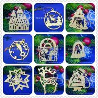 【聊城索丽塔】铃铛装饰 木质圣诞雪花片 精美木头挂件 圣诞装饰品DIY定制 家居定制摆件厂家直销