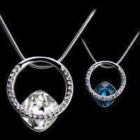 水晶项链批发 韩版女 新款 小饰品方形玻璃奥地利水晶项链  4528