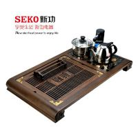 SEKO 新功 F25鸡翅木电热水壶组合茶盘 实木功夫茶盘抽水茶具套装