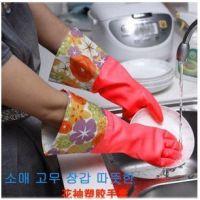 韩式高档连袖缩口防水防滑手套/保暖/花袖绒里手套200双/箱
