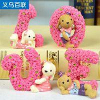 玫瑰花love兔汽车摆件 树脂情侣娃娃 4个装(拍4的倍数)33-1B\1088