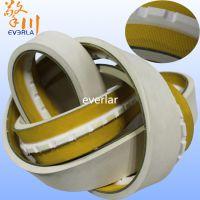 广州擎川everlar厂家批发天然橡胶黄绿片基带 表面加白胶底面加齿形导条
