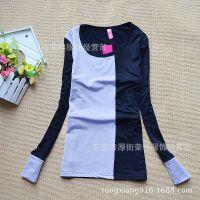 牛奶丝面料韩版女装百搭拼接长袖t恤潮 低领拼接长袖爆款打底衫