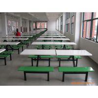 天津 连体食堂餐桌椅 玻璃钢餐桌椅