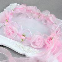 新年礼品头饰发饰 梦天堂纯手工白雪粉色冰沙玫瑰花环头纱批发