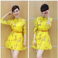 2015新款 地素DAZZLE 王冠同款柠檬黄 碎花桑蚕丝 真丝连衣裙