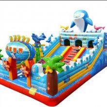 山西省海洋乐园充气滑梯车间100%实物图,12-6海豚充气滑梯青岛滨州充气玩具厂家