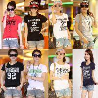 女人夏季地摊热卖阿里巴巴批发网韩版短袖女式t恤 厂家直销t恤女