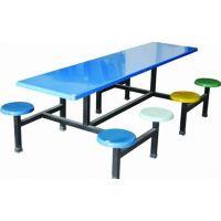 学校学生餐桌椅厂家直销(款式新颖)玻璃钢连体餐桌椅