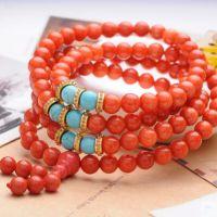 珊瑚绿松石佛珠108颗手链手串多层转运美容养颜包邮