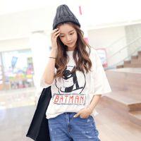 2015韩范新款夏季中长款宽松大码短袖T恤女卡通时尚学生打底衫潮