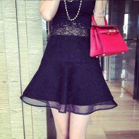 小银子2015春装新款立体复合蕾丝拼接欧根纱双层鱼尾短裙