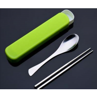 韩式创意不锈钢餐具 便携不锈钢筷子勺子叉子 学生旅行餐具盒 揭阳名瑞厂价