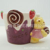 2014年 新款上市 甜美紫色熊熊冰淇淋慕斯瓷杯 彩绘纯手工瓷杯