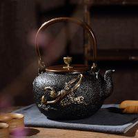 日本龙秀堂铁壶批发煮茶利器里外无涂层鎏金铸铁茶壶大圣归来