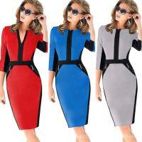 Ebay速卖通欧美新款秋装中袖修身气质连衣裙大码铅笔裙