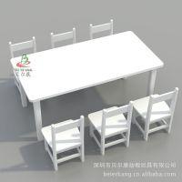 BEK5-80C 白色长方形木桌 幼儿园木桌椅生产厂 欧式儿童家私 长方桌