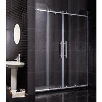 全钢化玻璃移门隔断浴屏简易浴室洗澡间整体淋浴房透明银沙洗澡间