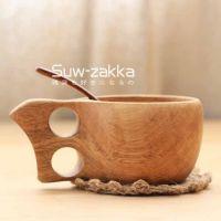 舒维Suw-zakka 芬兰KUKSA 双指环原木杯子 手作木器餐具