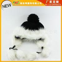 出口欧美羊毛绒线帽 护耳东北冷帽 定做加工 保暖狐狸毛毛球帽