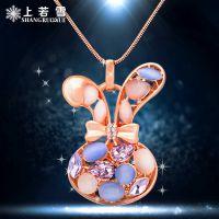 高档水晶兔子毛衣链女士长款项链 韩国首饰品百搭挂件时尚礼物
