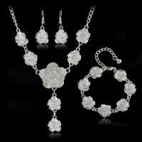 欧美婚庆花朵素银新娘耳环手镯三件套批发 速卖通现货供应 S134