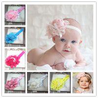 韩国新款珍珠玫瑰花 婴儿发带 宝宝头带 公主发饰 FD0105