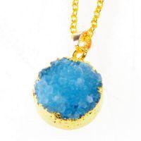 新款 速卖通亚马逊  欧美外贸饰品 镀金 蓝色圆形天然石 水晶项链
