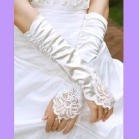 厂家直销批发新娘褶皱加长 红色 黑色 白色 礼仪 新娘婚纱手套