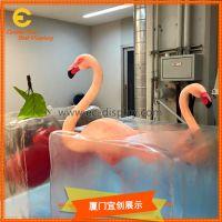 商场美陈橱窗道具透明冰雕道具玻璃钢鸟道具