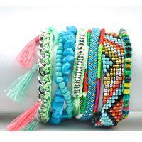 手工编织米珠绿松石组合手链女士波西米亚沙滩手链磁扣手饰手镯