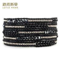 一件代发路塔斯曼黑玛瑙与黑胆色水晶925纯银镭射珠5圈皮绳手链