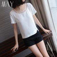春装新款女T恤短袖宽松显瘦白色雪纺欧根纱上衣