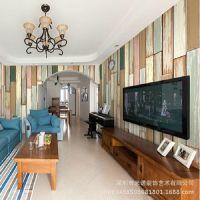 美式木纹复古壁画 客厅电视沙发卧室床头壁纸 室内装修大型墙布
