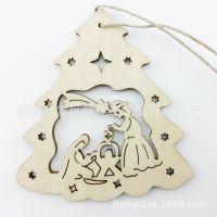 木质镂空雕刻挂件 圣诞节装饰激光雕刻装饰品