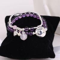 原创水晶玉石珠宝代理天然紫水晶S990S925纯银三挂件两圈银珠手链