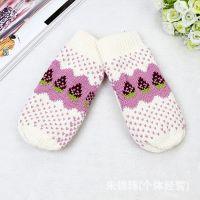 韩国秋冬季可爱女生草莓加厚针织保暖 连指毛线手套 厂家手套
