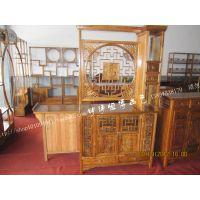 明清 仿古古艺古典中式实木榆木家具 门厅双面福字玄关柜