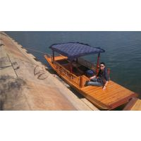 5.5m传统单蓬木船 江南水乡观光船 木质单蓬船 湖面双桨手划木船