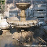 园林黄金麻喷泉 小区石雕喷泉水景 别墅室外锈石喷泉人物动物喷泉