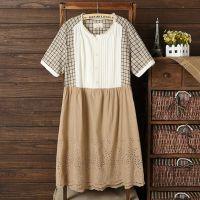 2015夏季新款女装日系森女文艺全麻拼色宽松显瘦大码连衣裙SLQL-L