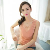 2015夏季新品韩版潮女蕾丝镶钻吊带背心时尚大码女装纯色打底衫