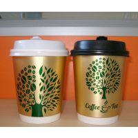 中空隔热纸杯8盎司咖啡杯热饮杯瓦楞杯金色发财树500个带盖300ml