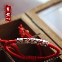 紫福珠宝 纯手工编织红绳如意手链 藏银弓形管 时尚饰品辟邪护身