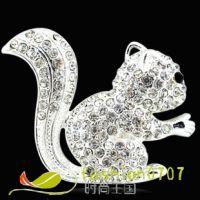 新款现货批发定做合金镶钻松鼠  DIY材料配件   合金饰品