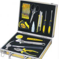 厂家批发品牌波斯工具高档18件铝合金箱家用组套楼盘促销套装工具