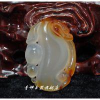 青坤玉器 大号印尼红玛瑙玉髓代代成龙 冰种吊坠挂件一件代发