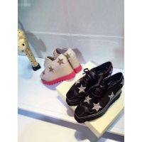 欧洲站2015春季新款小牛皮亮片星星松糕鞋坡跟女鞋厚底真皮女单鞋