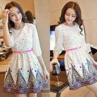 2015春装新款大码女装韩版修身圆领印花中袖显瘦碎花雪纺连衣裙