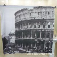 速卖通零售热销 欧式罗马建筑街景 灰色涤纶浴帘满版图案浴帘布